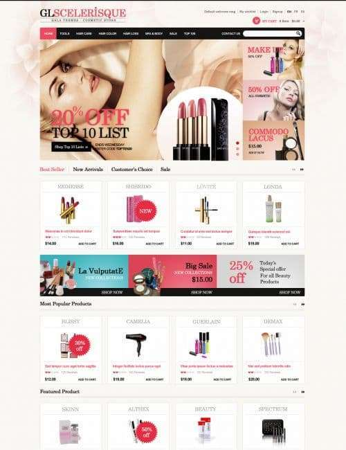 Magento theme beauty products