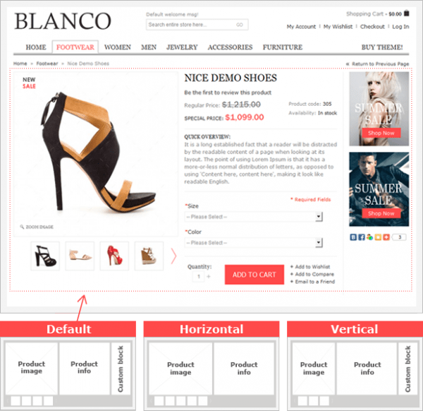 Magento product page style