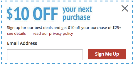 example of sign up coupon