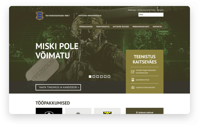 Human resources for Military website